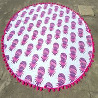 Pineapple Hand Printed Bohemian Indian Mandala Cotton Roundie