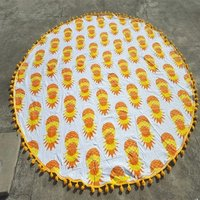 Indian Pineapple Print Cotton 72 Inches with Tassels Roundie