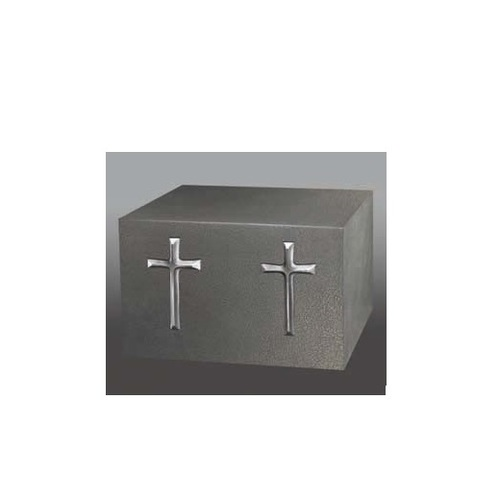 Two Silver Crosses Urn in Silhouette
