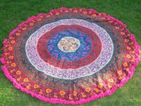 Guru Mandala Indian 100% Cotton Floral Print With Tassels Hippy Roundie