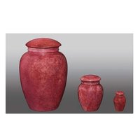 Genuine Stone Red Aluminum Urn