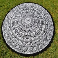 Indian Bohemian Hippie Elephant Star Round Tapestry Roundie