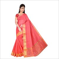 Supernet Plain Lace Border Saree