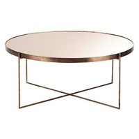 COPPER PLATED METAL MIRROR COFFEE TABLE
