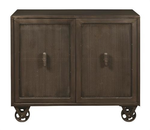 WOOD IRON CABINET WITH WHEELS