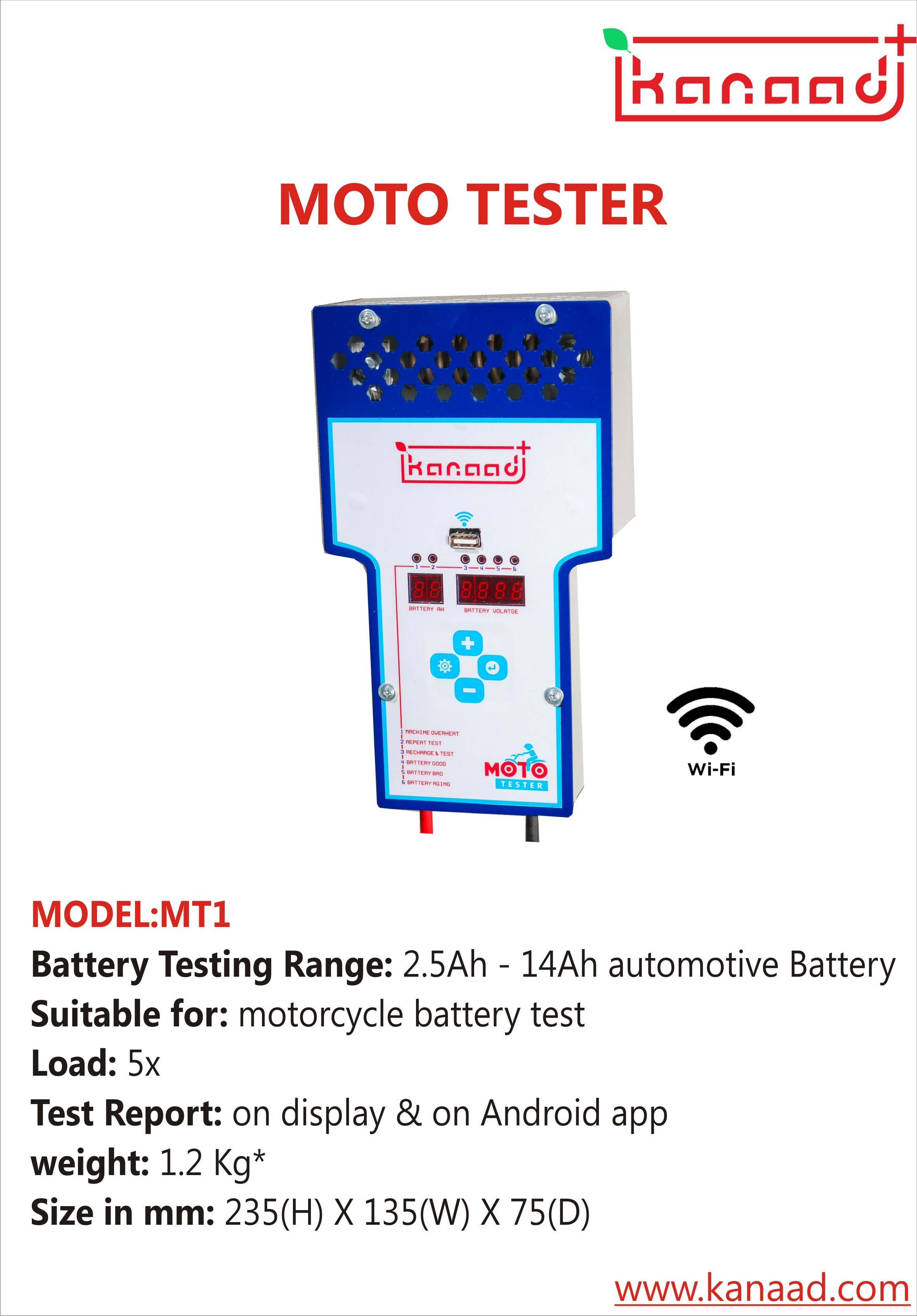 Motorcycle Battery Tester With Wifi