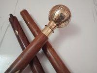 Designer-Globe-Shape-Brass-polish-Plated-Handle-Wooden-3-Fold-Walking-Stick
