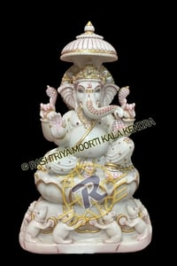 Indoor Hand Carved Marble God Ganesha Stone Statue