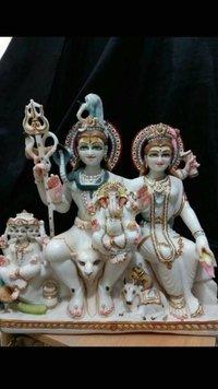 Shiva Family White Marble Statue