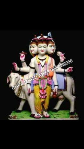 Marble Dattatreya Statue with Cow