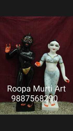 Carved Stone Radha Krishna Marble Statue