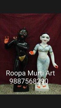 Carved Stone Radha Krishna Statue