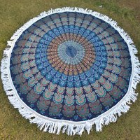 Indian Peacock Naptol Mandala Pattern Cotton Hippy Roundie