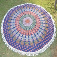 Indian Mandala Cotton Fabric Hand Printed Round roundie