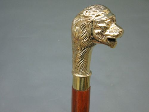 Designer Brass Victorian Lion Head Handle Style Vintage Wood Walking Stick Cane