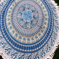 Floral Print Beach Indian Cotton Towel With Tassels Bohemian Hippy Roundie