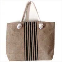 Stripe Printed Jute Bag