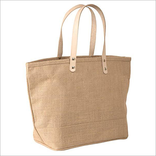 Leather Handle Jute Tote Bag