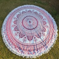 Deepak Mandala Indian 100% Cotton Floral Print Home Textiles Roundie