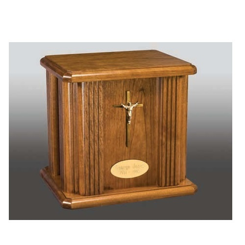 Jefferson Risen Christ Wood Urn with Nameplate