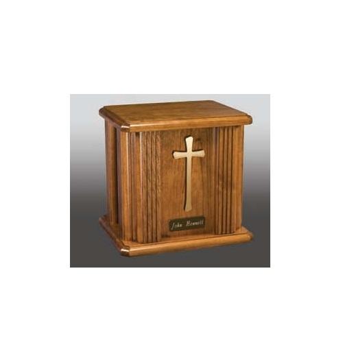 Atlantic Cross & Nameplate Wood Urn
