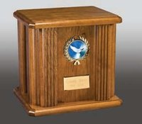 Atlantic Cross & Nameplate Wood Urn