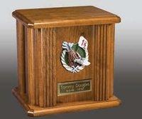 Praying Hands & Nameplate wood Cremation Urn