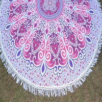 Indian Mandala Cotton Fabric with Tassels Home Textile Roundie