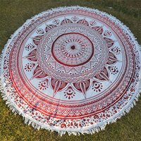 Indian Deepak Pattern Yoga Mat Mandala Bohemian Cotton Fabric Hippie Beach Towel with Tassels Beach Mat Round Tapestry