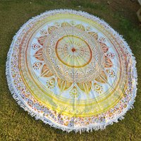 Beach Towel Bohemian Cotton Fabric Yoga Mat Round Tapestry Roundie