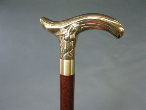 Wood cane nude walking stick brass sectional and secret compartment 93 cm lady