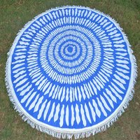 Cotton Fabric Round Indian Mandala Apsara Pattern Roundie  Mat