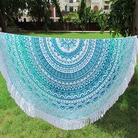 Floral Ombre Mandala Print Beach Towel Throw Bohemian Indian Roundie
