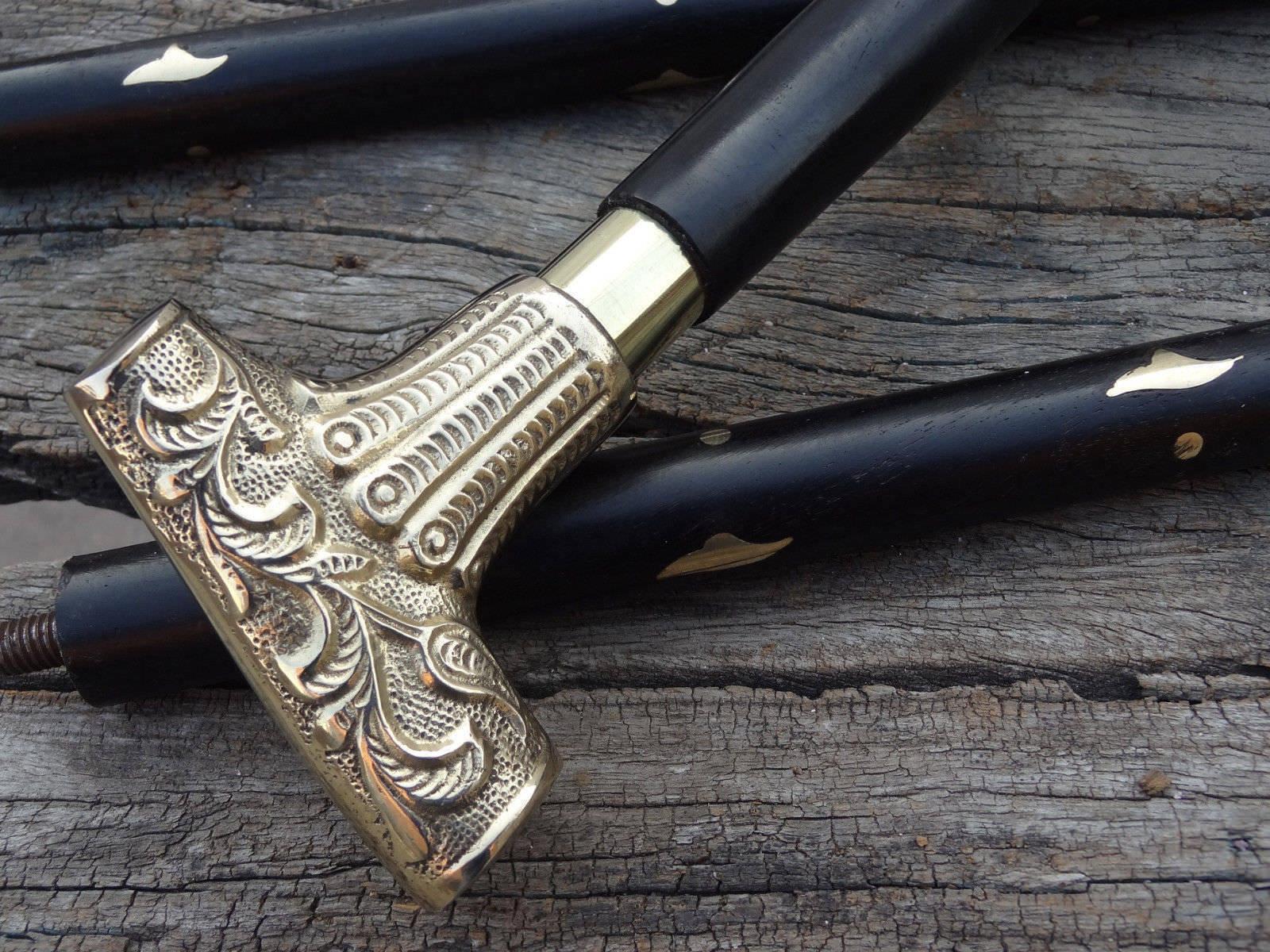 Brass Handle Rosewood Brass Wood Walking Cane Stick Knob Vintage Stick Handmade