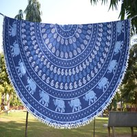 Indian 100% Cotton Mandala Indigo Elephant Print Throw Roundie