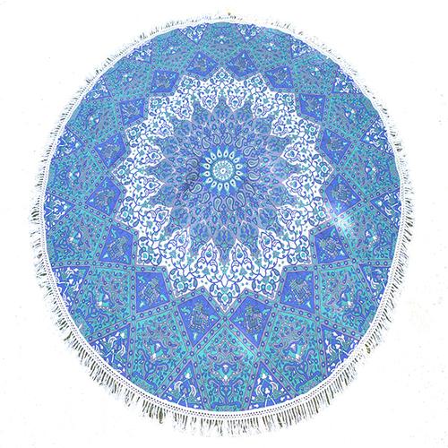Bohemian Star Mandala Print Indian 100% Cotton Throw Roundie