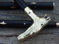 Antique Style Casting Brass Designer Handle Walking Cane Stick Vintage Wood Cane
