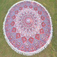 Indian Mandala Violet and Red Color Cotton Fabric Hippie Hippy Roundie