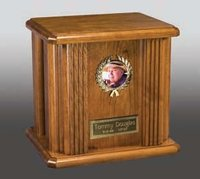 Gold Heart Wood Cremation Urn Nameplate