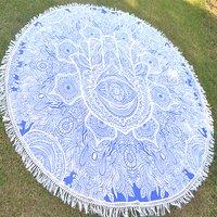 Hamsa Mandala Print Indian 100% Cotton Bohemian Roundie
