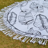 Indian Feather Pattern Hippie Boho Round Tapestry Mandala  Roundie
