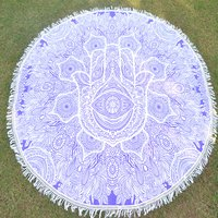 Indian Cotton Fabric Hand Printed Hippie Round Beach Mat Roundie