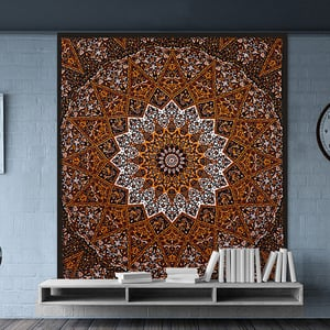 Hand Printed Indian Cotton Star Mandala Bedspread Tapestry