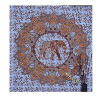 Hand Printed Indian Cotton Wall Decor Elephant Mandala Tapestry