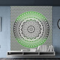 Green Dual Ombre Color Indian Cotton Bed Sheet Bedspread Tapestry