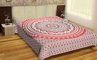 Red Mandala Indian 100% Cotton Material Hand Printed Tapestry