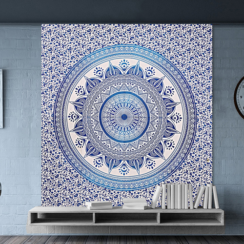 Blue Deepak Ombre Mandala Indian 100% Cotton Dual Color Tapestry