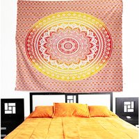 Hand Printed Indian 100% Cotton Handmade Bedspread Tapestry