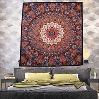 Hand Printed Star Mandala Indian Cotton Design Bedding Tapestry