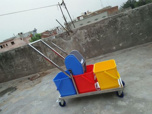 3 Bucket Mop Wringer Trolley Stainless Steel 54L